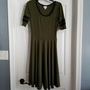 LulaRoe Nicole Dress Size S NWT Olive